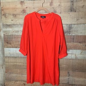 Nwt Lulu's Red Quarter Sleeve Shirt Dress